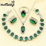 XUTAAYI Lovely Green Created Emerald 4PCS Jewelry Set 925 <b>Sterling</b> <b>Silver</b> Earrings <b>Ring</b> Necklace Pendant Bracelet Made In China