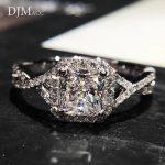 Fashion Jewelry No fade S925 <b>Sterling</b> <b>Silver</b> Color Very Bright 7mm Square 5A Zircon Engagement Wedding <b>Rings</b> For Women(DJ0968)