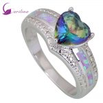 Wedding Fashion <b>rings</b> for women Blue Rainbow Mystic Cubic Zirconia Opal 925 <b>Sterling</b> <b>Silver</b> Overlay jewelry size 5 6 7 8 9 R407