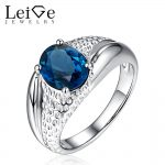 Leige Jewelry Natural London Blue Topaz Engagement <b>Ring</b> Prong Setting <b>Sterling</b> <b>Silver</b> Oval Cut Wedding <b>Rings</b> Anniversary Gift