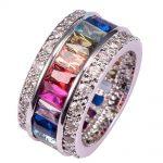 Morganite Garnet Blue Crystal Zircon 925 <b>Sterling</b> <b>Silver</b> Engagement Wedding <b>Ring</b> Size 6 7 8 9 10 11 12