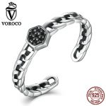 VOROCO Retro Chain Pattern <b>Sterling</b> <b>Silver</b> 925 <b>Rings</b> 3mm Party Adjustable Open Cuff <b>Ring</b> for Women Fine Jewelry