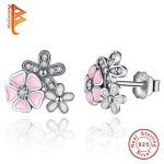 BELAWANG Real 925 <b>Sterling</b> <b>Silver</b> Poetic Daisy Cherry Blossom Stud <b>Earrings</b> Mixed&Clear CZ Pink Flower Women Engagement Jewelry
