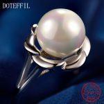 Charm Flower <b>Ring</b> Woman 925 <b>Sterling</b> <b>Silver</b> Fashion High Quality AAA 10mm Pearl Woman Jewelry