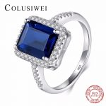 2018 Classic Blue Special Cut Fashion Real 925 <b>Sterling</b> <b>Silver</b> Wedding Engagement <b>Ring</b> Finger Zirconia Jewelry <b>Rings</b> For Women