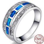 Aceworks Blue Opals Gem Authentic 925 <b>Sterling</b> <b>Silver</b> Top Grade <b>Rings</b> Women Stone Romantic Vintage Jewelry Ethnic