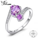 JewelryPalace Pure 925 <b>Sterling</b> <b>Silver</b> 0.9ct Natural Amethyst 3 Stone Anniversary <b>Ring</b> Oval Fashion Engagement Jewelry For Women