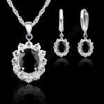 JEXXI 925 <b>Sterling</b> <b>Silver</b> Jewelry Sets For Women Fashion Black CZ Zircon Pendants Necklace And <b>Earrings</b> Bridal Wedding Set