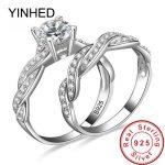 YINHED 2pcs Original Solid 925 <b>Sterling</b> <b>Silver</b> Wedding <b>Rings</b> for Women Fashion Cubic Zirconia CZ Engagement <b>Ring</b> Set ZR392