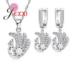JEXXI Lovely Elegant Peacock Pendant Necklace <b>Earring</b> Set High-Grade 925 <b>Sterling</b> <b>Silver</b> Jewelry Set for Women Clear CZ Zircon B