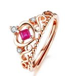 925 <b>Sterling</b> <b>Silver</b> Wedding <b>Rings</b> for Women 0.3 Carat Ruby Jewelry <b>Ring</b> 18K Rose Gold Plated Crown <b>Rings</b> for Girls