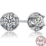 Aceworks Round Zirconia 925 <b>Sterling</b> <b>Silver</b> Stud <b>Earring</b> Women Wedding Bridal Bridesmaids Zirconia Jewelry Cute Brand Design