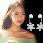 2016 New hot sell Imitation shell pearl flower 925 <b>sterling</b> <b>silver</b> ladies`stud <b>earrings</b> birthday gift jewelry