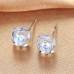 Lingdong Fashion 925 <b>silver</b> <b>earring</b> four-leaf clover series Micro mosaic love ear stud free shipping