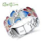SANTUZZA <b>Silver</b> <b>Ring</b> For Women 925 <b>Sterling</b> <b>Silver</b> Fashion Flower <b>Rings</b> for Women Cubic Zirconia Ringen Party Jewelry Enamel