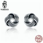VOROCO Authentic Popular 925 <b>Sterling</b> <b>Silver</b> Weave Classic Push-back Twisted Stud <b>Earring</b> Women Fine Jewelry Brinco VSE011