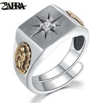ZABRA White Zirconia Cross Virgin Mary Resizable <b>Ring</b> for Christian Vintage Charm 925 <b>Sterling</b> <b>Silver</b> Rose Gold <b>Ring</b> Men Women