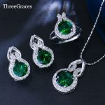 ThreeGraces Trendy 925 <b>Sterling</b> <b>Silver</b> Pendant Necklace Earrings And <b>Ring</b> Jewelry Set With Created Emearald Cubic Zirconia JS117