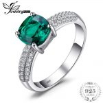 JewelryPalace 1.7 ct Cushion Cut Created Emerald Wedding Bands 925 <b>Sterling</b> <b>Silver</b> Engagement <b>Rings</b> For Women Brand Fine Jewelry