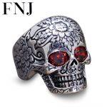 925 <b>Sterling</b> <b>Silver</b> <b>Ring</b> Men S925 Thai Solid <b>Silver</b> Garnet <b>Rings</b> Skull Men's Jewelry Skeleton Punk Style anillos