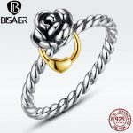 Genuine 925 <b>Sterling</b> <b>Silver</b> Rose Flower Female <b>Ring</b> 925 <b>Silver</b> Finger <b>Rings</b> Original Luxury Wedding Engagement Jewelry WEU7113