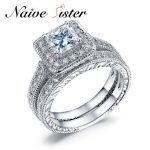 Fashion Solid 925 <b>Sterling</b> <b>Silver</b> White Gold Color <b>Ring</b> 2-Pcs Wedding Engagement <b>Ring</b> Set 1.5 Ct Princess Cut Jewelry