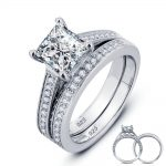 USTYLE 1.5 Carat Princess Cut Created Solid 925 <b>Sterling</b> <b>Silver</b> 2-Pc Engagement Bridal <b>Ring</b> For Women YR0002