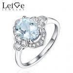 Leige Jewelry Oval Cut Aquamarine <b>Ring</b> <b>Sterling</b> <b>Silver</b> Wedding Engagement <b>Rings</b> March Birthstone Christmas Gift for Women