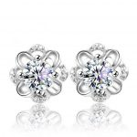Female Jewelry Korea Style Solid 925 <b>Sterling</b> <b>Silver</b> Stud <b>Earrings</b> for Party Shiny Cubic Zirconia <b>Earrings</b> Cute Gift for Girls
