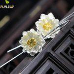 925 <b>Sterling</b> <b>Silver</b> Flower Earings Elegant Lotus long Drop <b>Earring</b> For Women Fashion Brincos Grandes Fine Jewelry pendientes
