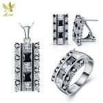 ANGG Fashion Jewelry Set 925 <b>Sterling</b> Sliver Jewelry <b>Ring</b> Earrings Necklace Women Square Cubic Zirconia Jewelry Include China