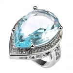 Light Blue Crystal Zircon With Multi White Crystal Zircon 925 <b>Sterling</b> <b>Silver</b> <b>Ring</b> Factory price Size 6 7 8 9 10 11 F1498