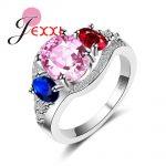 JEXXI Modern 3 Oval Multicolour Crystal Anel Feminino 925 <b>sterling</b> <b>silver</b> jewelry for Women New Fashion Birthday Gift <b>Rings</b>