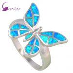 Fashion jewelry <b>rings</b> for women butterfly Blue Opal <b>ring</b> 925 <b>Sterling</b> <b>Silver</b> Party <b>silver</b> <b>ring</b> size 5 6 7 8 9 R561