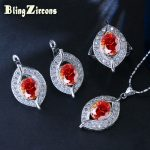 BlingZircons 925 <b>Sterling</b> <b>Silver</b> Jewelry Sets Marquise Shape Orange Red CZ Crystal Earrings <b>Ring</b> Necklace Set For Women JS010