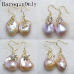 BaroqueOnly Unique Natural Real Pink/purple Freshwater Pearl Drop <b>Earring</b> Jewelry Natural Charm <b>Earrings</b> big size pearls