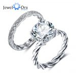 Luxury Wedding <b>Ring</b> Sets 12mm 6.5 CT Hearts And Arrows Round Cubic Zirconia 925 <b>Sterling</b> <b>Silver</b> Jewelry (JewelOra RI102339)
