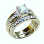Choucong Jewelry 925 <b>Sterling</b> <b>Silver</b> Square Zircon CZ Stone Wedding <b>Ring</b> Set For Women Two Layers Size 5,6,7,8,9,10