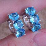 Adorable Swiss Blue Cubic Zirconia 925 <b>Sterling</b> <b>Silver</b> Huggie Hoop <b>Earrings</b> For Women S0229