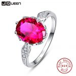 JQUEEN Vintage 2.5 Carats Ruby 925 <b>Sterling</b> <b>Silver</b> <b>Ring</b> Oval Cut Wedding Party Fine Jewelry Accessories With Gift box
