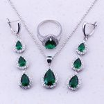 Enioyable Green Created Emerald White CZ 925 <b>Sterling</b> <b>Silver</b> Water Drop Jewelry Sets For Women Trend Fashion Jewelry J0023