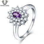 DOUBLE-R 0.24 ct Natural Amethyst Gemstone 925 <b>Sterling</b> <b>Silver</b> <b>Ring</b> Embroidery