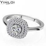 Hot Fashion Luxury Women Engagement Jewelry 925 <b>Sterling</b> <b>Silver</b> 5A ZC Crystal Zircon Female Wedding Finger Flower <b>Rings</b> RA07