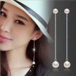 <b>Earring</b> post long chain 925 <b>sterling</b> <b>silver</b> white artificial pearls nickel-free women and girls simple fashion jewelry