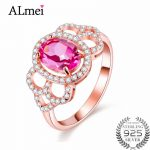 Almei 1.5ct Pink Beads Topaz Natural Stone Eternity <b>Rings</b> Original 925 <b>Sterling</b>–<b>Silver</b>-Jewelry Rose Gold Color Box 40% FJ020