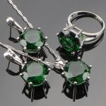 Huge Round Green Cubic Zirconia <b>Sterling</b> <b>Silver</b> Jewelry Sets For Women <b>Silver</b> Earrings/Pendant/Necklace/<b>Rings</b>