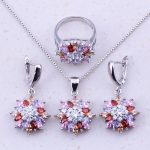 Absorbing Multicolor Imitation Multigem 925 <b>Sterling</b> <b>Silver</b> Flower Jewelry Sets For Women Bridal Wedding Fashion Jewelry J0035