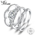 JewelryPalace 1.5ct Cubic Zirconia 3 Pcs Anniversary Wedding Band Solitaire Engagement <b>Ring</b> Bridal Sets Pure 925 <b>Sterling</b> <b>Silver</b>