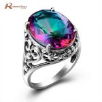 Solid 925 <b>Sterling</b> <b>Silver</b> Cocktail <b>Rings</b> for Women Rainbow Mystical Topaz Crystal Finger <b>Ring</b> Vintage Party Jewelry Accessory