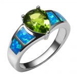 Blue Fire Opal With Peridot 925 <b>Sterling</b> <b>Silver</b> <b>Ring</b> Beautiful Jewelry Size 6 7 8 9 10 R1384